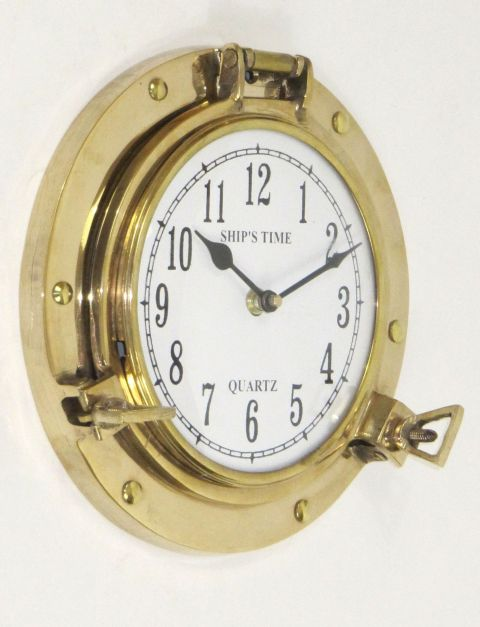 Heavy Brass Porthole Clock