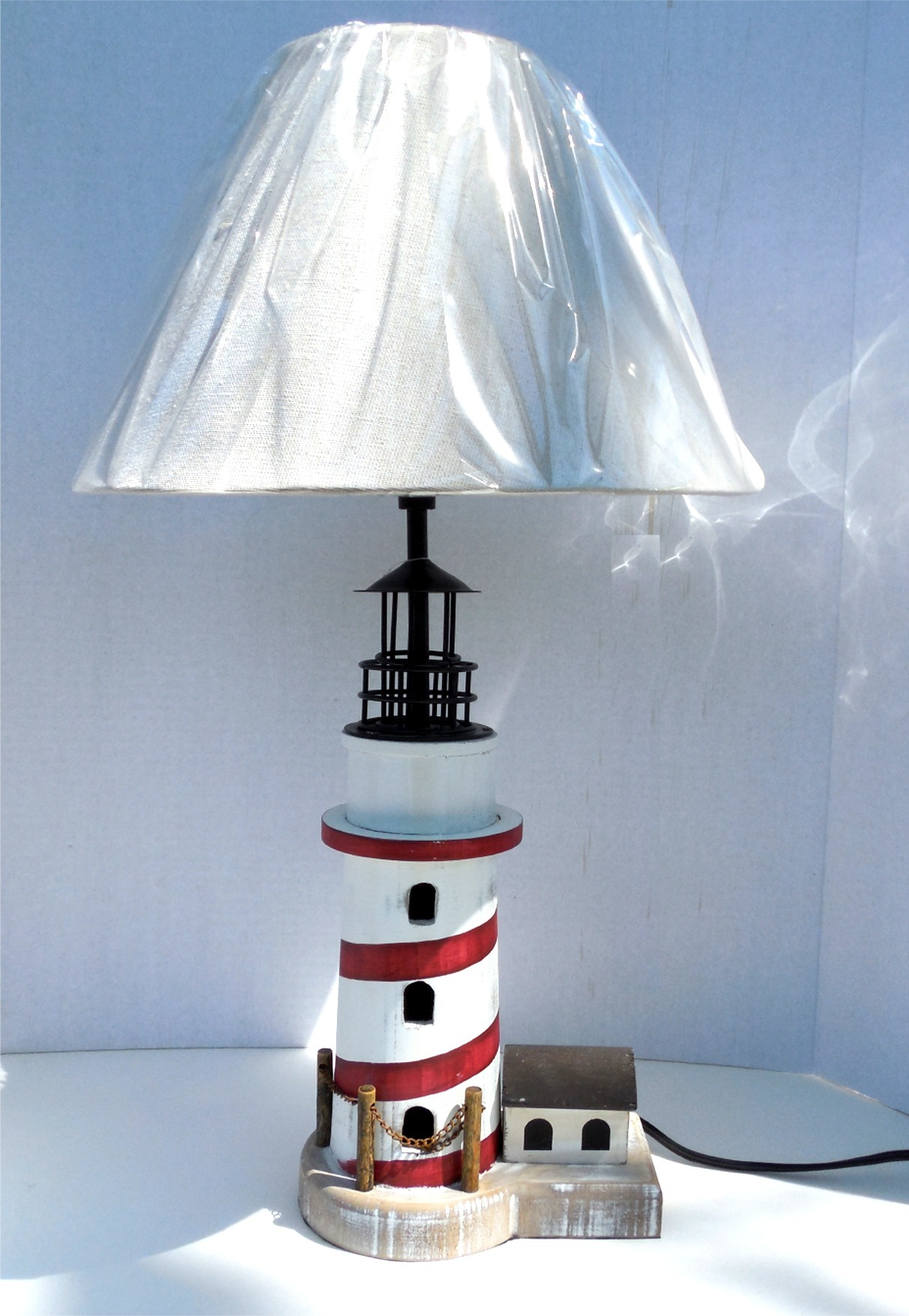 Robin S Dockside Shop Red White Lighthouse Table Lamp